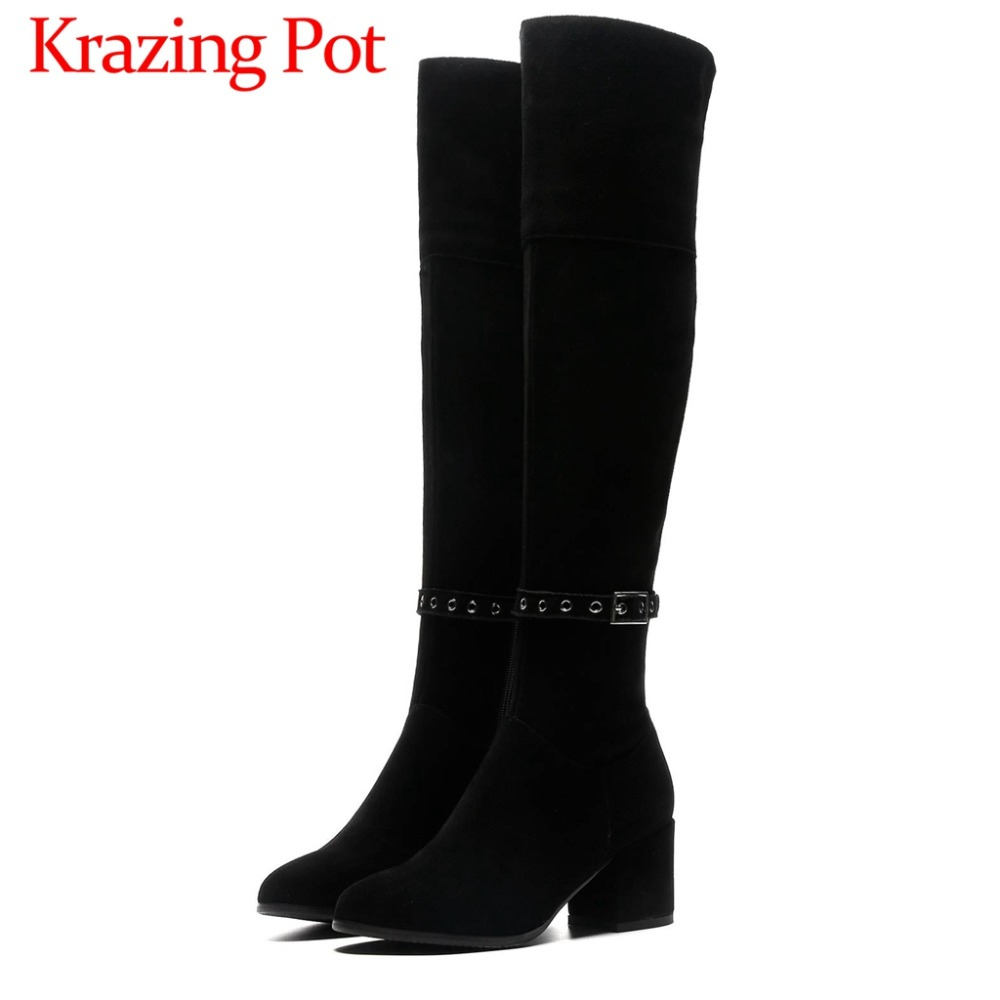 Black color european station plus size round toe high thick heels natural leather zipper thigh high boots new fashion shoes L84Black color european station plus size round toe high thick heels natural leather zipper thigh high boots new fashion shoes L84
