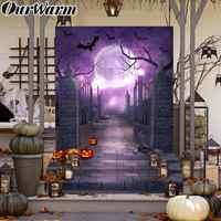 OurWarm Halloween Hintergrund Horror Nacht Fotografie Hintergrund Geist Moonlight Kürbis Foto Requisiten Halloween Haus Dekorationen