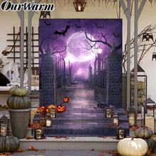 OurWarm Halloween Backdrop Horror Night Photography Background Ghost Moonlight Pumpkin Photo Props House Decorations