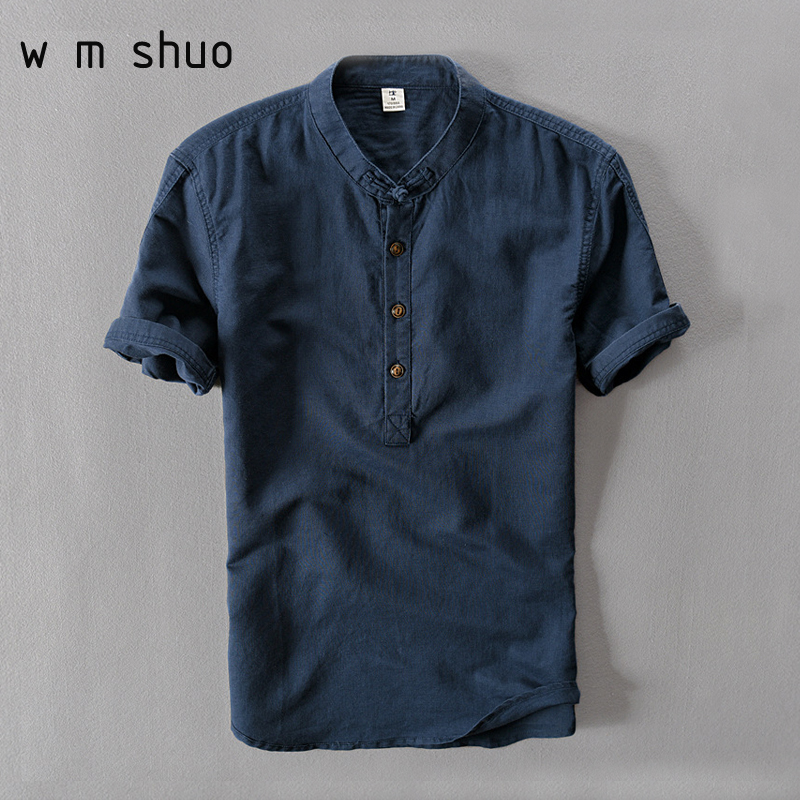YUSM Shirts for Men Cotton Breathable Casual Solid Short Sleeve Shirt