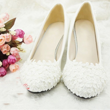 2015 Free Shipping Flower Girl Dress Shoes Bridesmaid Shoes Woman White high heel bridal shoes lace flower wedding dress shoes