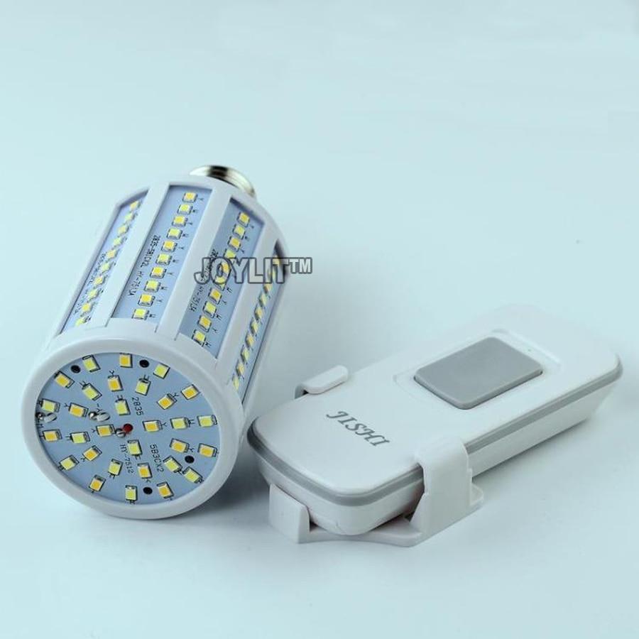 free shipping AC85-265V ww+cw Remote control dimmable 15W 20W E14 E27 LED Corn Bulb Lamp Light 360 Degree Horizontal Plug Light
