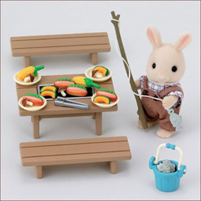 kids dollhouse furniture. New Genuine Sylvanian Families Miniature Fishing Barbecue Set Dollhouse Furniture Cute Kids Pretend Toys Desk Chairs Set-in From