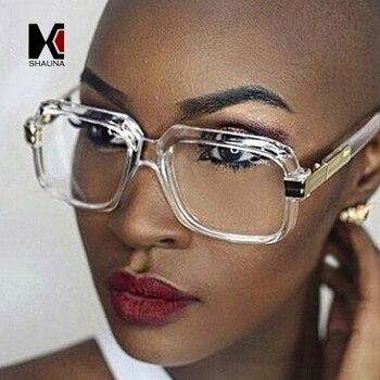 b68bd0c593 SHAUNA Popular de gran tamaño las mujeres gafas de sol cuadradas de marca  de diseñador de los hombres de la moda marco transparente gradiente/gafas  UV400