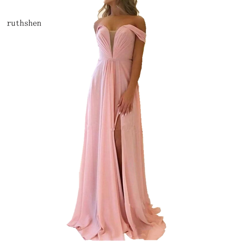 Sexy Side Split   Prom     Dresses   Chiffon Party Gown Back Lace Up Long Evening   Dresses   A-line Custom Robe De Soiree Off The Shoulder