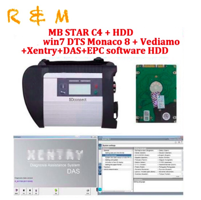 2019 High Quality obd 2 scanner mb star c4 and 2019 03 DTS vediamo win7 software
