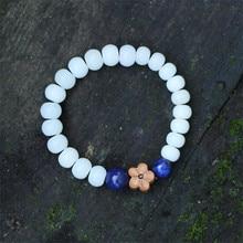 Mulheres pulseiras 2016 new arrival branco madeira bodhi flor frisada na moda jóias acessórios de moda menina pulseira BS07