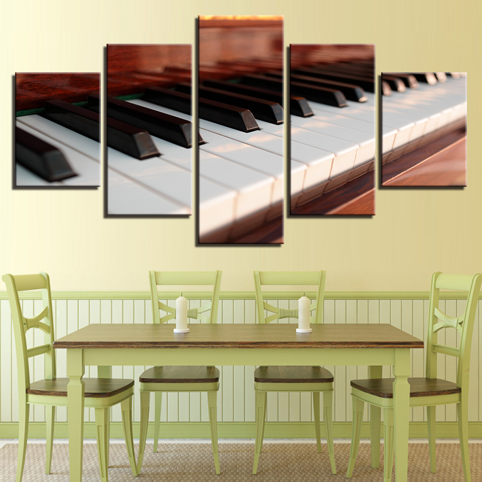 Canvas Posters Modern Living Room Wall Art Framework 5 Pieces Piano ...