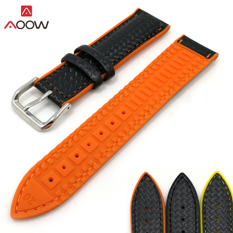 AOOW Silicone Sport Watchband Replacement Strap Bracelets Genuine Leather Carbon Fiber 18mm 20mm 22mm Watchband For Men Women