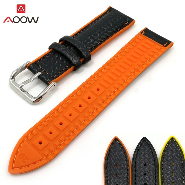AOOW Silicone Sport Watchband Replacement Strap Bracelets Genuine Leather Carbon