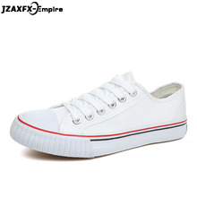 Summer New Mens Vulcanize Shoes Lace-up Comfortable Flat Canvas Classic Fashion Male White