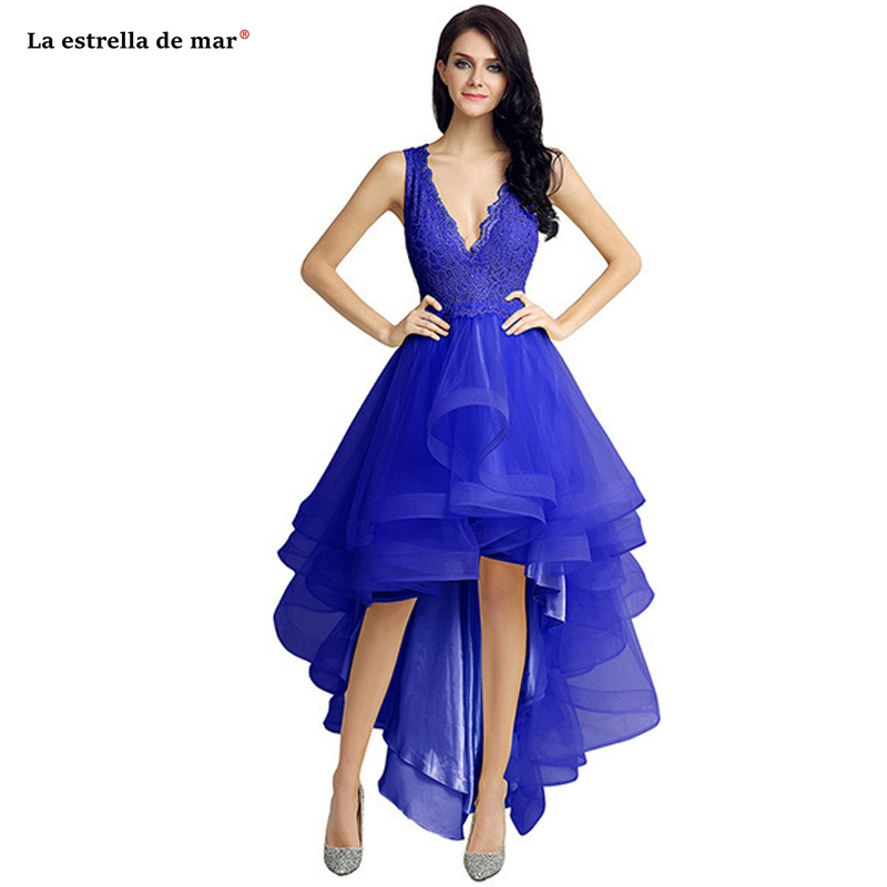 Sukienka dla druhny2019 new lace sexy v neck royal blue mint green purple watermelon red high low   bridesmaid     dress   long