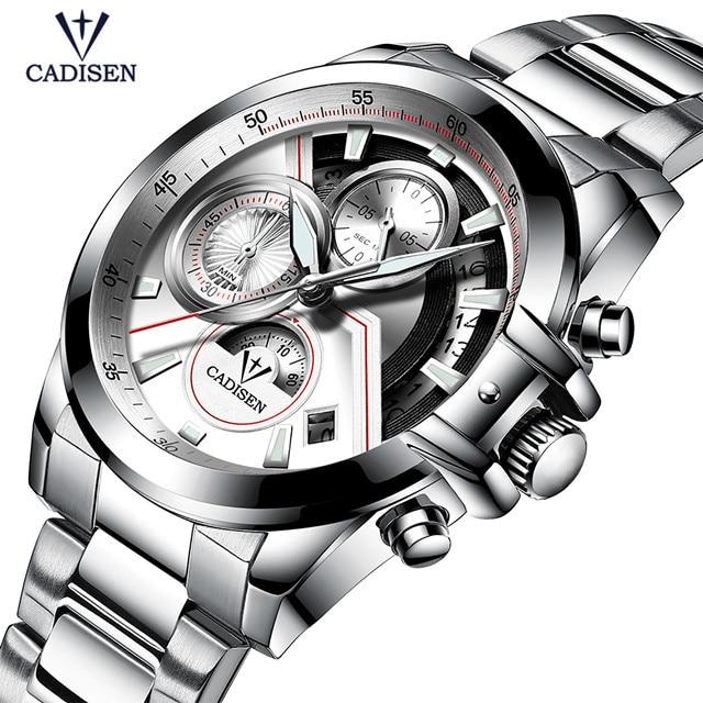 купить CADISEN Watches Men Top Brand Luxury Business Waterproof Chronograph Watch Quartz Full Steel Man Wristwatch Relogio Masculino недорого