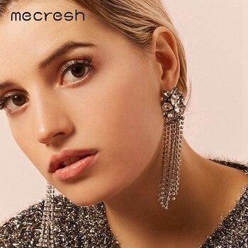 3b55822c24c6 Mecresh de diamante de imitación de moda gran borla pendientes europea  Declaración de flor de cristal largo pendientes regalos para mujeres EH1265