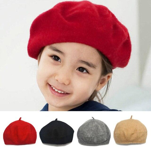 f7105e00ce7b7 Lã de moda Crianças Meninas Boina Chapéu Pintor Jornaleiro Caps Doce Cor  Elastic Crianças Chapéus para
