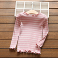 Girls Shirts Kids Striped Long Sleeve Tees European Style Ruffle Girl Shirt Leisure Tops Children Clothing Pink White