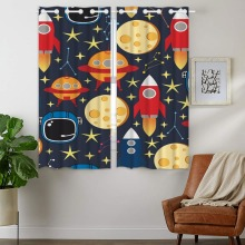Blackout Curtains 2 Panels Grommet for Bedroom Rocket Space Suit Detector Galaxy Outer Boy