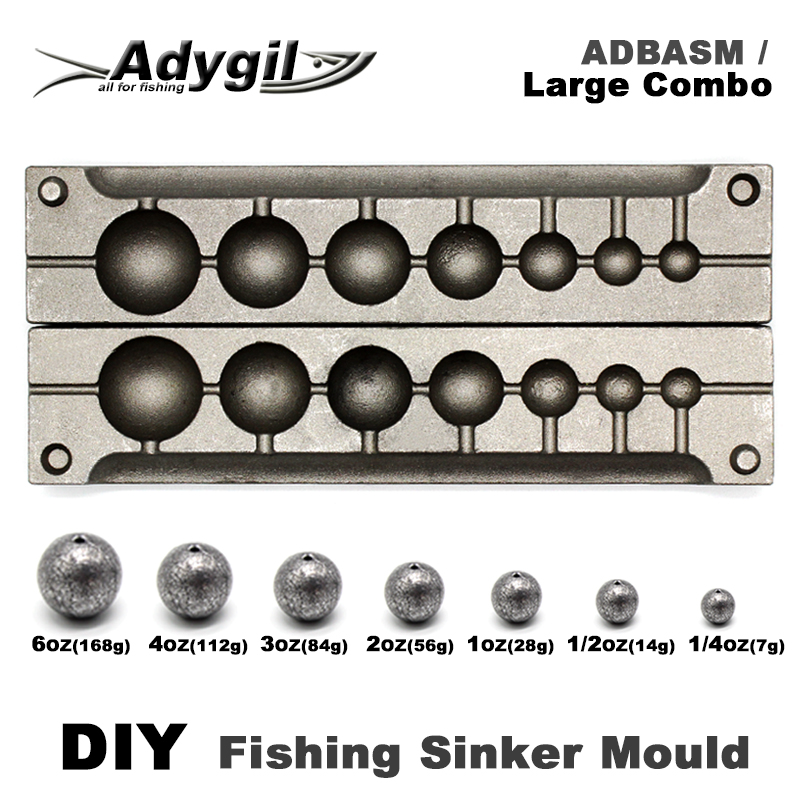Adygil DIY Fishing Ball Sinker Mould ADBASM/Large Combo Ball Sinker 7g 14g 28g 56g 84g 112g 168g 7 Cavities outkit 10pcs lot copper lead sinker weights 10g 7g 5g 3 5g 1 8g sharped bullet copper fishing accessories fishing tackle
