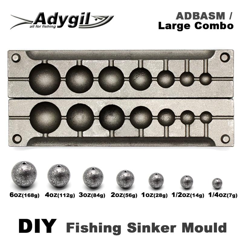 Adygil DIY Fishing Ball Sinker Mould ADBASM/Large Combo Ball Sinker 7g 14g 28g 56g 84g 112g 168g 7 Cavities