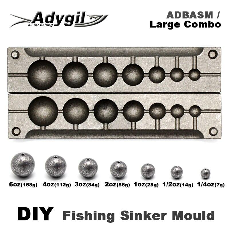 Adygil bricolage pêche balle Sinker moule ADBASM/grand Combo balle Sinker 7g 14g 28g 56g 84g 112g 168g 7 cavités