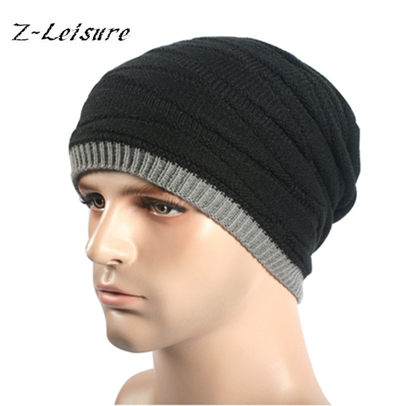 2016 Fashin Reversible  Skullies& Beanies Winter Men Knitted Hat Baggy Caps Warm Skullies Skull Cap Bonnets Gorros KC032 [swgool] skullies