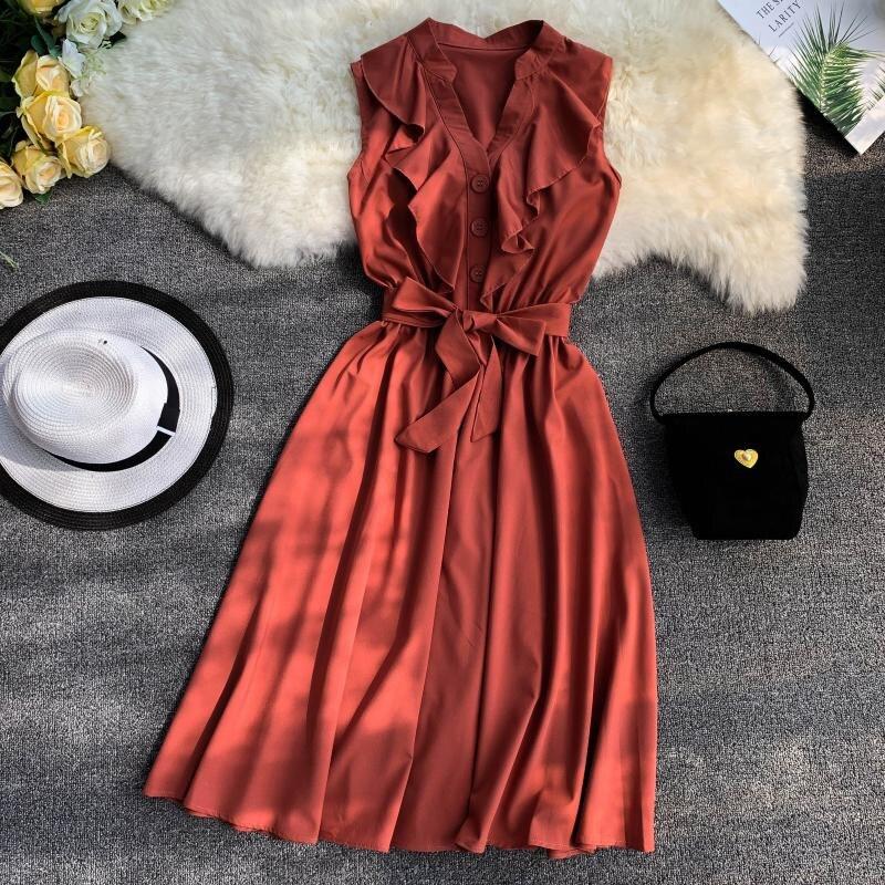 Nouveau femmes d'été col en V sans manches volants bouton Vintage Boho décontracté couleur Colid robe de soirée plage robe d'été avec ceinture