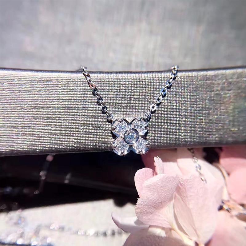 ANI 18K White Gold (AU750) Pendant Necklace Certified 0.026 Carat I/SI Natural Diamond Clover Women Engagement Chain Necklace 18krgp four leaves clover diamond pendant alloy necklace gold