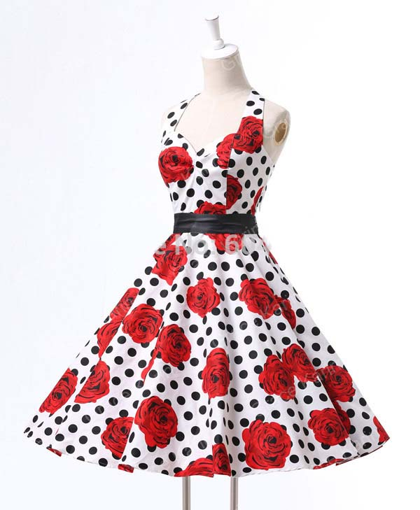 28d688f4f9 Vestido vestido de audrey hepburn 60 s 1950 s 1940 s Femme Robe Estampado  de Flores Atado Al Cuello Pin Up Rockabilly 50 s Vestido de Época en  Vestidos de ...