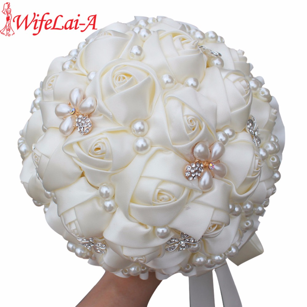 Best Price Cream Pearls Mariage Bridal Bouquets Artificial Flower Wedding Bouquets Ramos De Novia Brooch Bouquet Wedding W225
