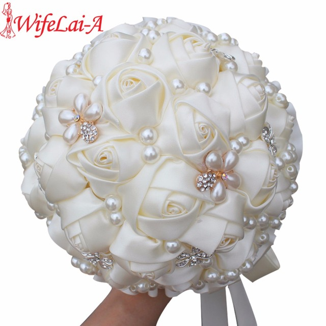 Best Price Cream Pearls Mariage Bridal Bouquets Artificial Flower ...