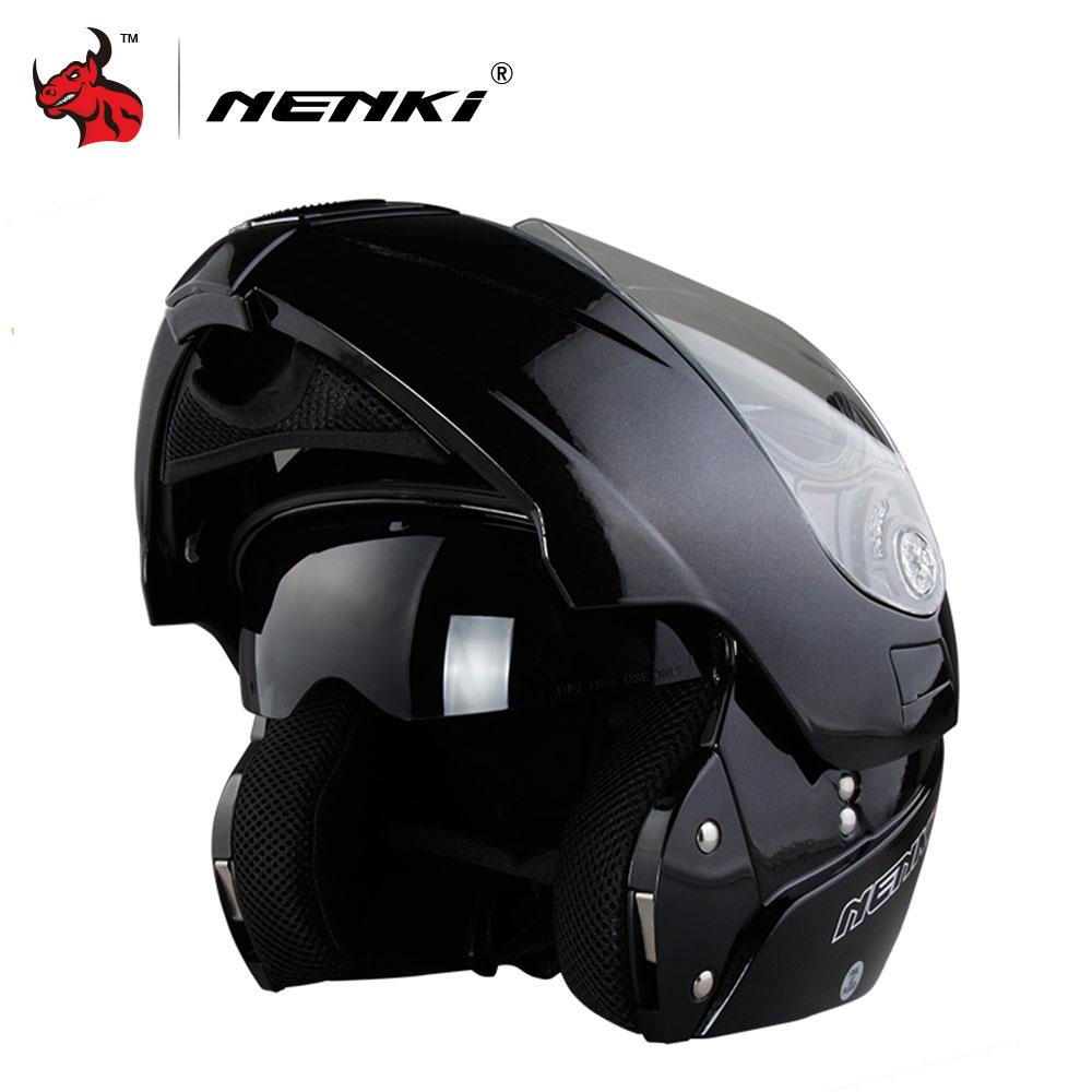 NENKI Safe Flip Up Casque De Moto Capacete De Moto Avec Intérieure Pare-Soleil Noir Moto Racing Off Road Casque Moto casque
