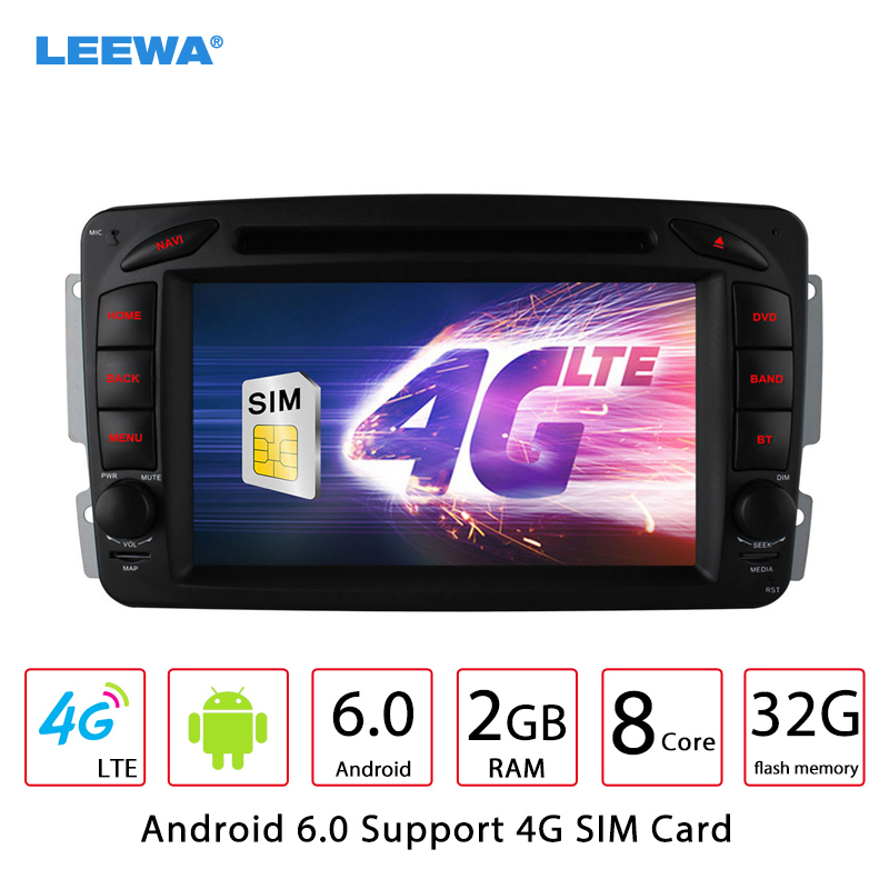 LEEWA Android 6.0 Car DVD GPS Radio Head Unit For Mercedes Benz C-Class W203/A-Class W168/G-Class W463/Vaneo/Viano/Vito/CLK W209 bigbigroad for mercedes benz r g class vito viano sprinter vaneo r230 w251 car hud head up display windscreen projector obd2
