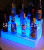 Waterproof Color Changeable LED Three Step Bars Shelves Holder Lighted Up Bottle Displays Beer Holders Remote