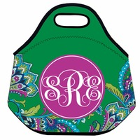 Custom Neoprene Lunch Bag For Women Paisley Thermal Lunch Bag Kids Insulated Lunch Box Bag Green
