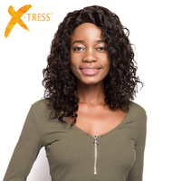 X TRESS Afro Kinky Curly Human Hair Lace Front Wigs 18'' Long Soft Brazilian Remy Natural Color Hair Wig For Women Free Shipping