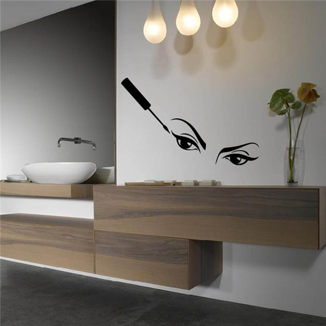 Vinyl Wall Decals Mascara Make Up Mirror Bathroom Wall Stickers Home