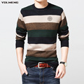 YDLMENG striped sweater men o neck green red badge oversized M to 3XL soft fashion brand knitted Brand Clothing Man's Knitwear