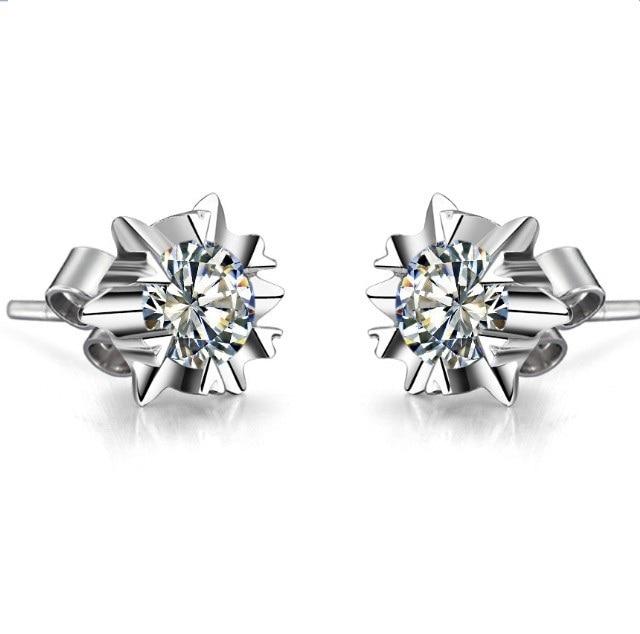 18K Jewelry Earrings Snowflake Design 0.5CT Piece SONA Diamond Earring Stud  for Women Engagement Gift Female Accessory f750068720d1