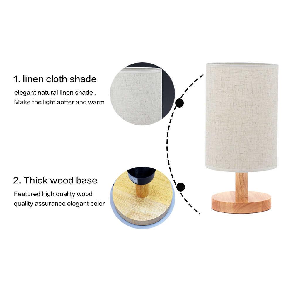 LUCKYLED, винтажный Настольный светильник, деревянная настольная лампа E27/E26, держатель, ретро прикроватная лампа с абажуром для дома, спальни, ночной Светильник