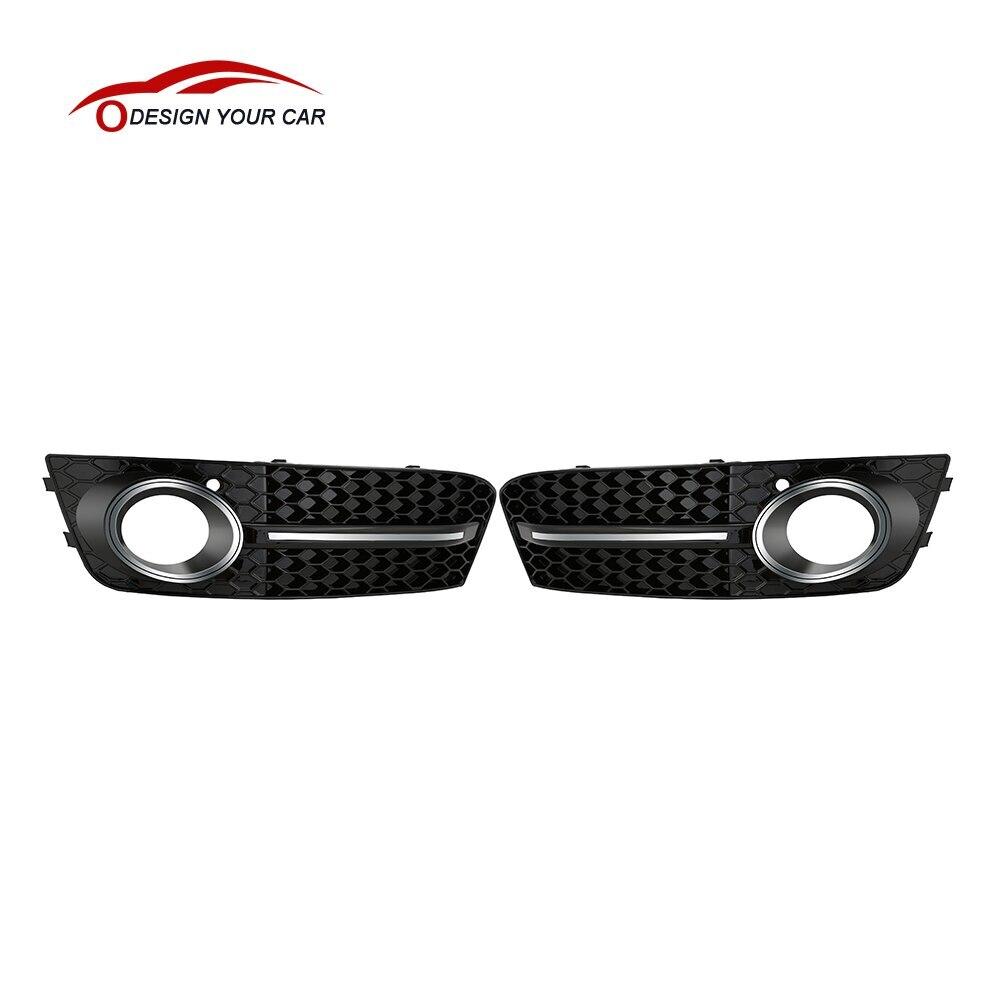 2016 une paire noir avant Grilles de voiture pour Audi A4/B8 2008-2011 voiture brouillard lumière couverture Grilles de remplacement pour voiture