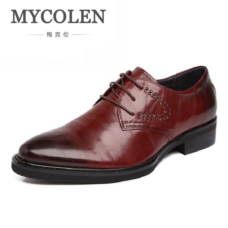 MYCOLEN Men Shoes Famous Luxury Brand Leather Brogue Oxford Shoes For Men Formal Office Classic Pointed Toe Dress Flats Footwear цены онлайн