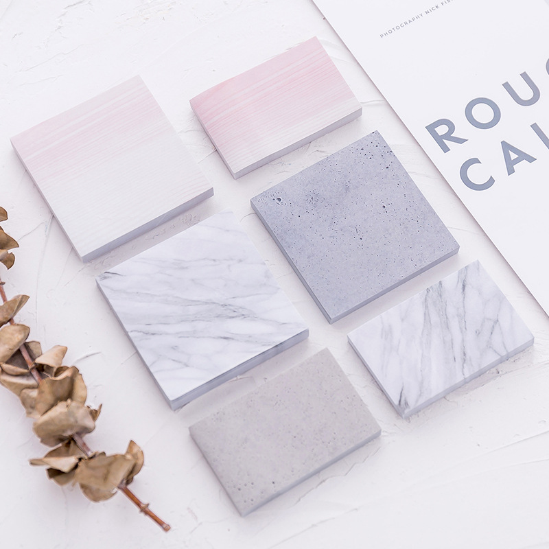 The Color Of Marble Notepad Self-Adhesive Memo Pad Sticky Paper Notes Bookmark School Office Stationery Supplies