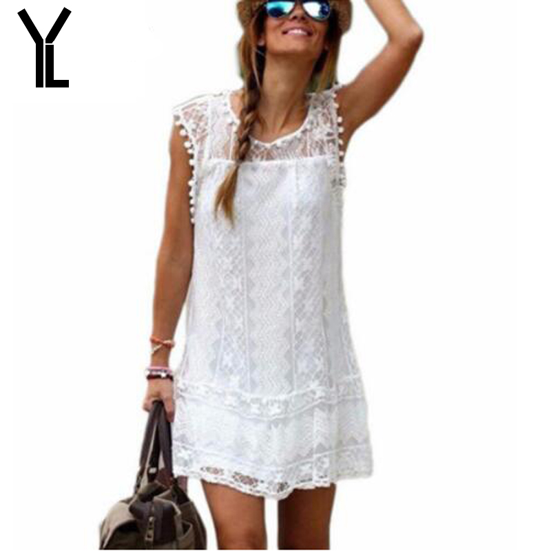 Summer Dress 2018 Women Casual Beach Short Dress Tassel Black White Mini Lace Dress Sexy Party Dresses Vestidos Plus Size S-5XL