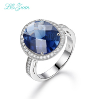 I Zuan 100 925 Sterling Silver Jewelry Ring Prong Setting 9 97ct Blue Stone Romantic Luxury