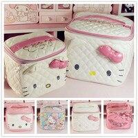 Cute Cartoon Genuine Hello Kitty Cosmetic Bag Pu Makeup Bag Girls Cosmetic Case Women Pouch Travel Toiletry Storage Holder Bag
