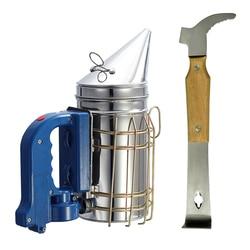 DLKKLB Beekeeping Tool Set High Quality Electric Bee Smoker + Wood Handle Multi-function Scraper Beekeeping Tool Equipment