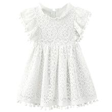 Kids Girl Ball Gown Dress NEW White Toddler Girl Summer Lace Dress 6 7 8 Year Princess Birthday Party Dress Children Clothing