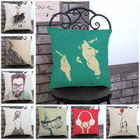 Linen Cotton London Personality Character Cushion Covers Home Sofa Decor Pillows Case Free Shipping Wholesale
