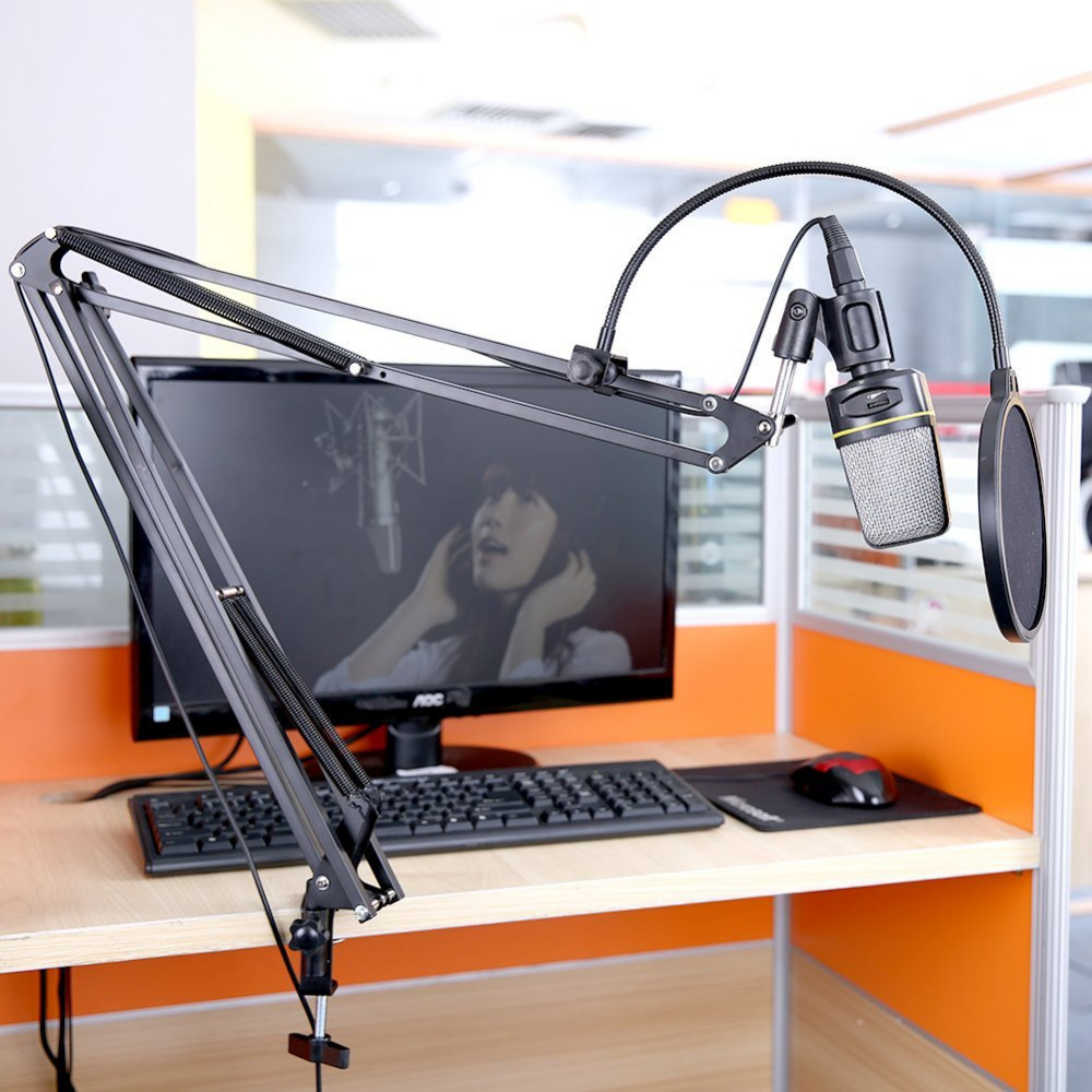 Neewer NB-39 Adjustable 43.3/110cm Studio Recording Microphone Suspension Boom Scissor Arm Stand+Microphone Clip&Table Mounting adjustable height microphone stand dual mic clip round metal weighted base boom arm tripod for recording and podcasting