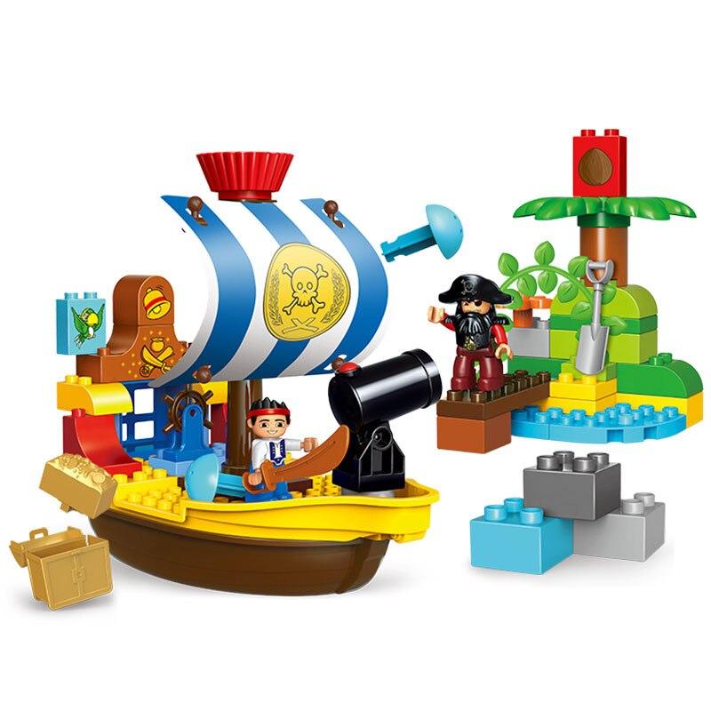 63 pièces Pirate Bateau Guerre Trésor Chasse blocs de construction compatible avec Légion Duplo jouets éducatifs Enfant Cadeau Rôle Jouer Jouets